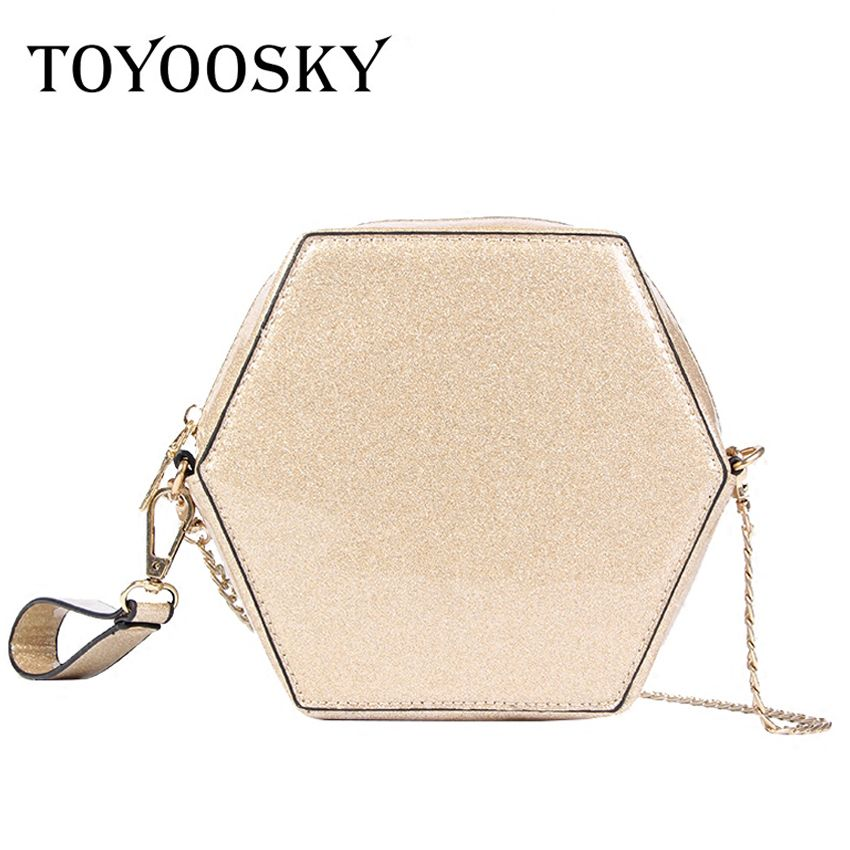 TOYOOSKY Women's Handbags Fashion Sequins Small Wrist Bag Geometric Shape Clutch For Girls Casual Chains Crossbody Bags