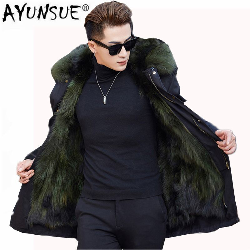 Winter Natural Raccoon Fur Coat Men Warm Thicked Jacket 2018 New Casual Hooded Leather Fur Coat Male Parkas Plus Size 4XL LX2350