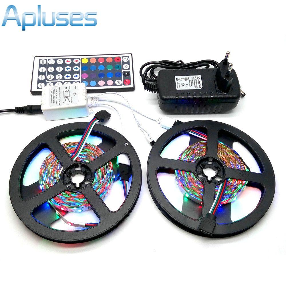 10 M LED bande lumière 3528 RGB 600 LED bande Flexible lumière ensemble + 44 touches télécommande + 12 V 3A adaptateur d'alimentation