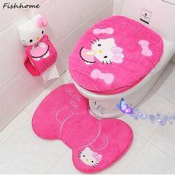Hello Kitty terciopelo grueso lujo cubierta de asiento Conjunto 2 unids 3 unids 4 unids lujo caliente suave caso de tocador baño WC pie Esterillas lyb11