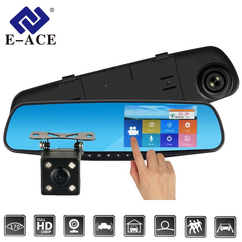 E-ACE Car Dvr Dash Cam 4.3 Inch Touch FHD 1080P Rearview Mirror Video Recorder Dual Lens Auto Registrator With Rear View Camera