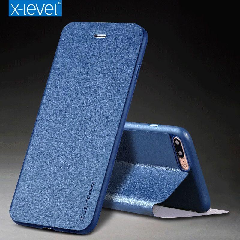 X-Niveau En Cuir Cas pour iPhone 7 8 Plus Cas D'affaires Silicone bord Ultra Mince D'origine PU Flip Couverture pour iPhone 7 8 Cas