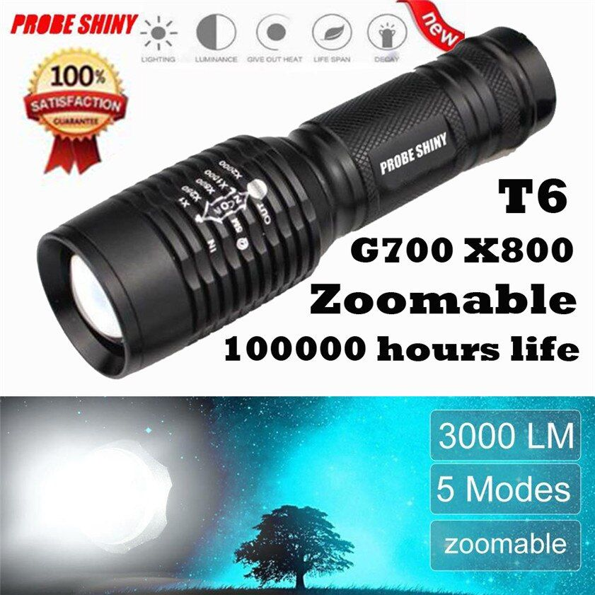 High Quality 3000LM XM-L T6 LED Flashlight 18650 Zoomable Flashlight