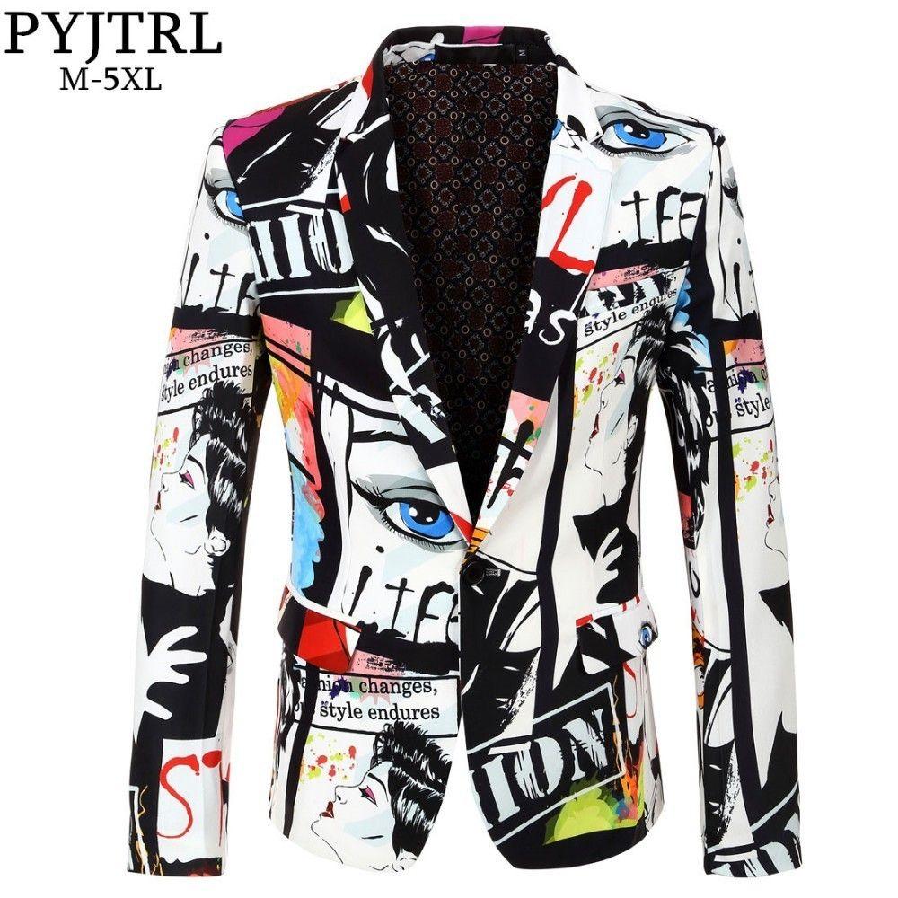 PYJTRL Brand 2018 New Tide Mens Fashion Print Blazer Design Plus Size Hip Hot Casual Male Slim Fit Suit Jacket Singer Costume