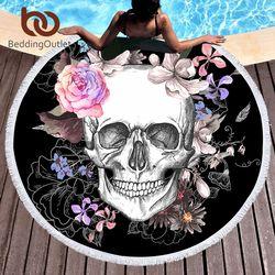 BeddingOutlet Sucre Crâne Rond Serviette De Plage Floral Gland Tapisserie Rose et Noir Tapis De Yoga Fleur Mode Toalla Couverture 150 cm