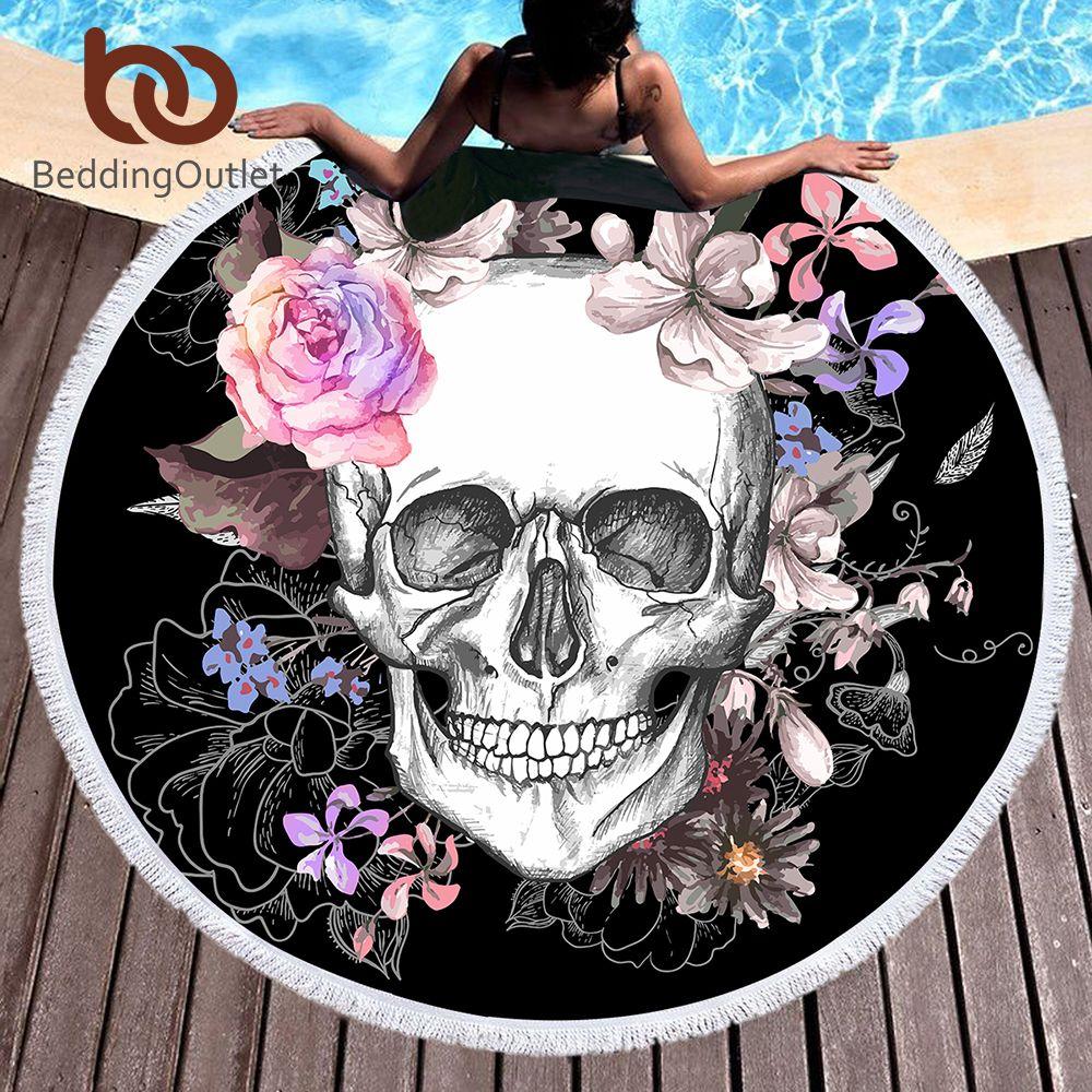 BeddingOutlet Sugar Skull Round <font><b>Beach</b></font> Towel Floral Tassel Tapestry Pink and Black Yoga Mat Flower Fashion Toalla Blanket 150cm