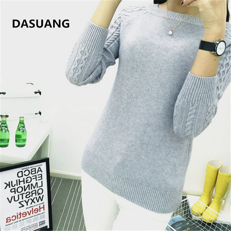 DASUANG Sweaters Women 2017  Winter O-neck Long Sleeve Pullovers Knitted Sweater Female Warm Tops D056