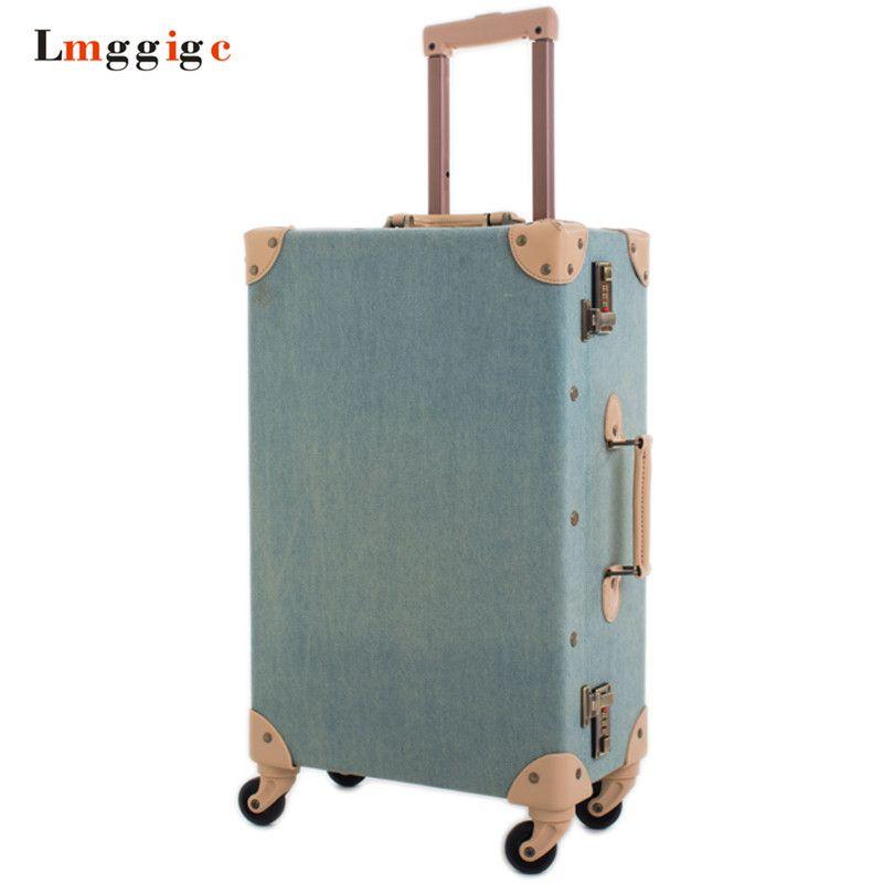 Denim Leinwand Gepäcktasche, Oxford tuch Vintage Roll Reise-koffer, 20