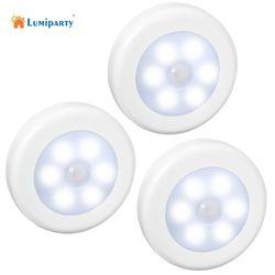 Lumiparty 3 unids LED sensor de movimiento noche seco batería movimiento de la luz de la noche del LED lámpara con luz blanca de emergencia