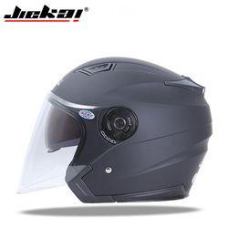 Jiekai motocicleta Cascos Bicicletas eléctricas casco abierto Cara lente dual Viseras hombres mujeres verano scooter moto casco