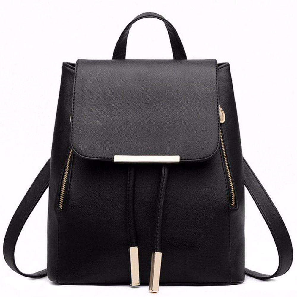 Black School Supplies Backpack Female PU Leather Backpack <font><b>Japanese</b></font> Street Bag Women's School Bag for Adolescent Girls Backpacks