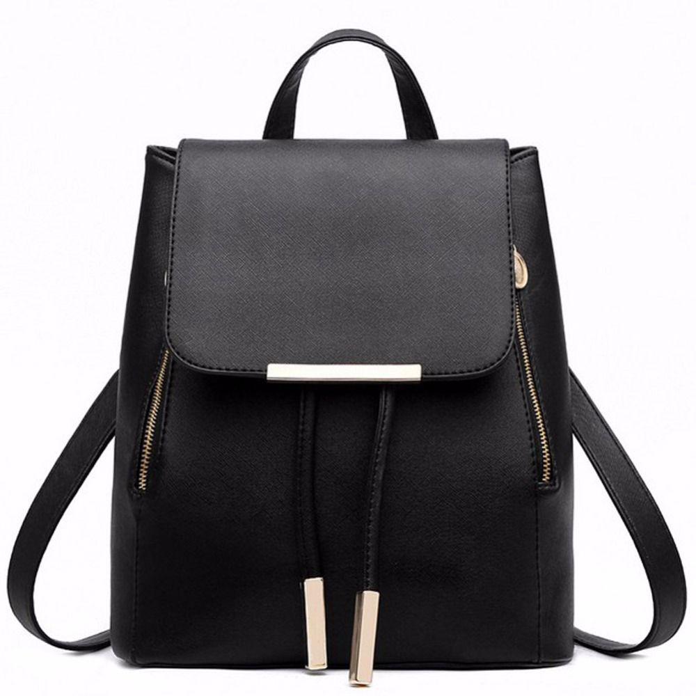 Black School <font><b>Supplies</b></font> Backpack Female PU Leather Backpack Japanese Street Bag Women's School Bag for Adolescent Girls Backpacks
