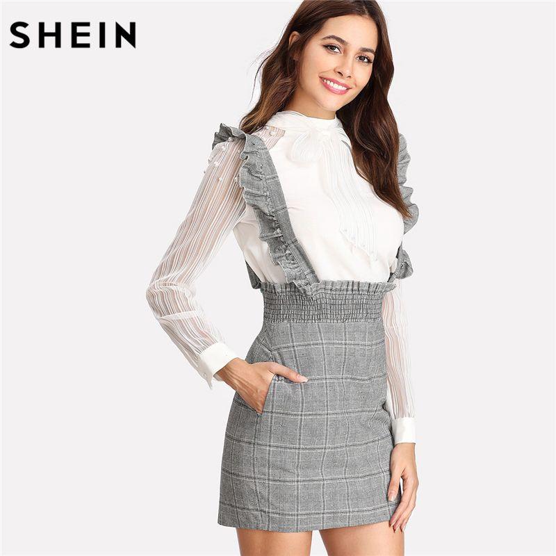 SHEIN Skirts Womens High Waist Skirt Autumn Grey Skirts Women With Zipper Shirred Waist Plaid Skirt With Flounce Strap