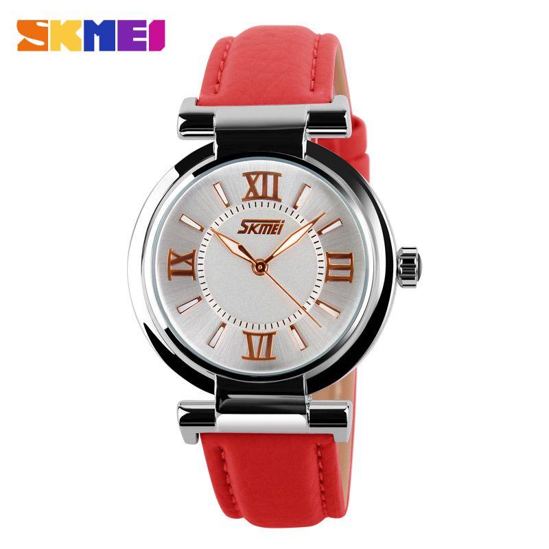 SKMEI 9075 montres femmes bracelet en cuir étanche montres à Quartz de mode montres de luxe de marque Relogio Feminino XFCS