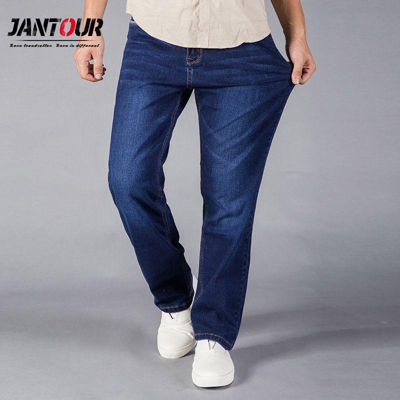 jantour 2017 Jeans Men Straight Fit Blue Stretch Denim Pants Large size Trousers Business Cowboys Man Jeans 40 42 44 size