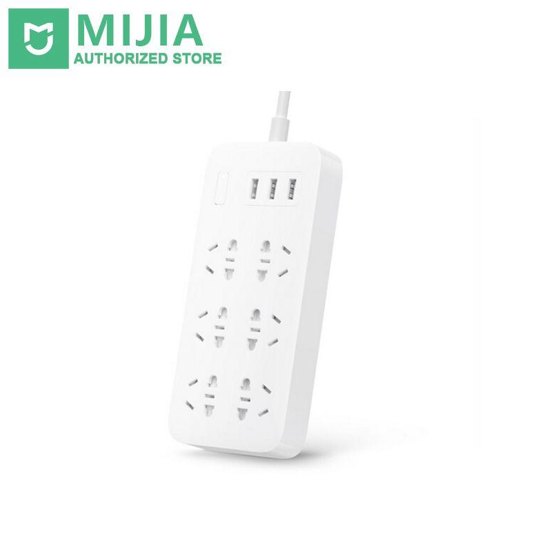 100% Original Xiaomi Mijia Mi Smart Power Strip 2A Fast Charging 3 USB Extension Socket Plug 6 Standard Sockets EU Adapter