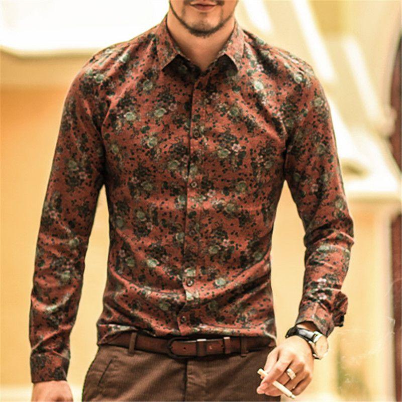 Men shirt Floral printing long sleeve shirts men clothes flowers printed shirts vintage Linen Casual Men Shirt 2018 new Spring
