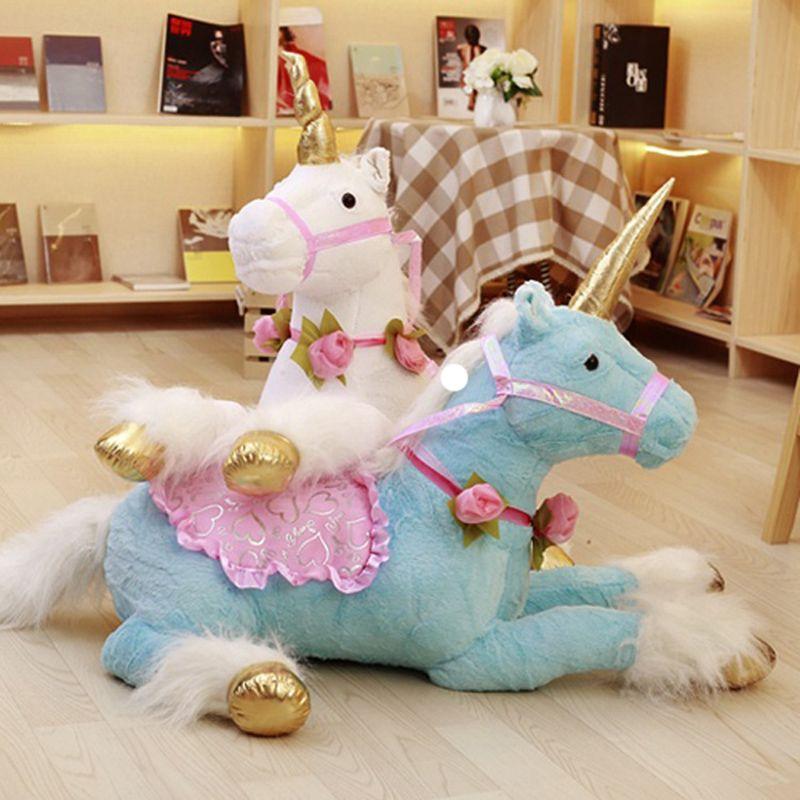 100cm Jumbo Unicorn Horse Plush Toys Giant Stuffed Animal Soft Doll Kid Sofa Home Decor Gift for Children Photo Props Kid Gifts