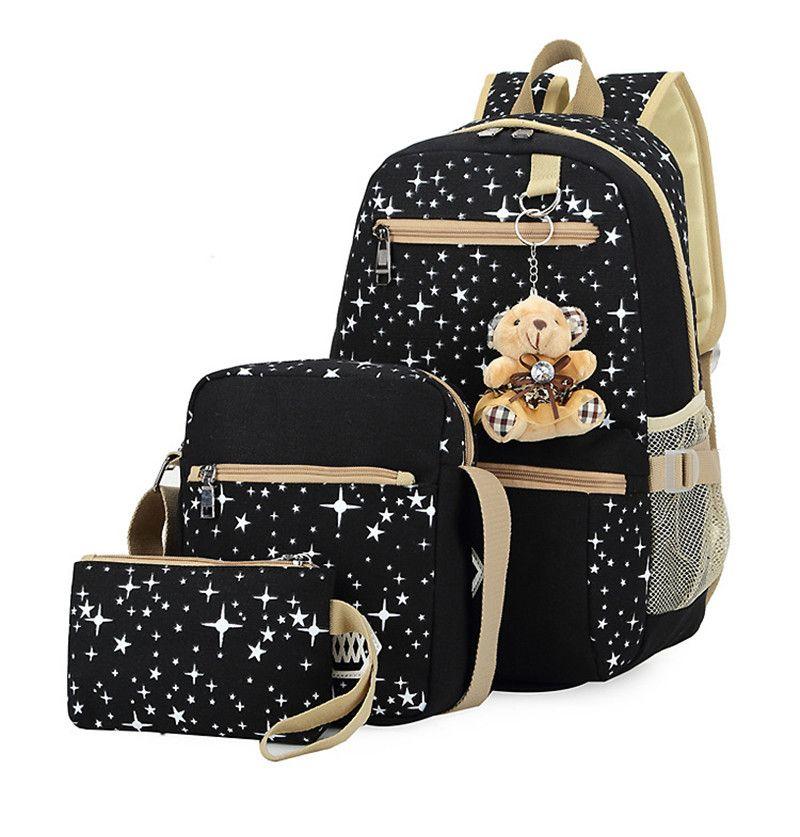 3pcs/set Women Backpack School Bags <font><b>Star</b></font> Printing Cute Backpacks With Bear For Teenagers Girls Travel Bag Rucksacks Mochila
