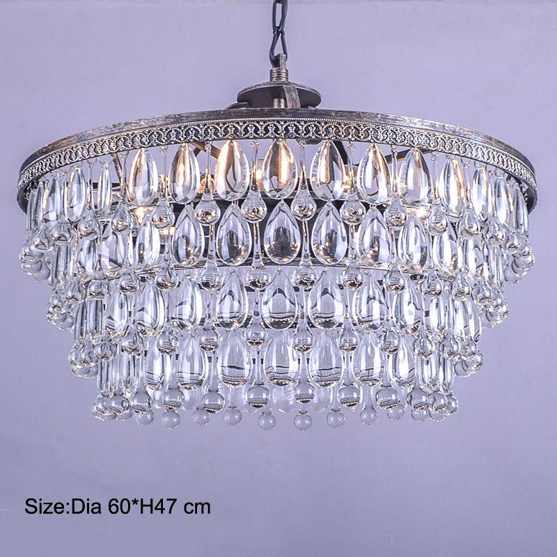 Retro Clarissa Glas tropfen FÜHRTE kristall kronleuchter lampe für esszimmer/schlafzimmer/großen französisch reich stil Restaurierung Hardware beleuchtung