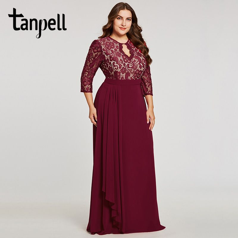 Tanpell backless plus evening dress burgundy scoop lace 3/4 sleeves floor length a line gown women formal long evening dresses