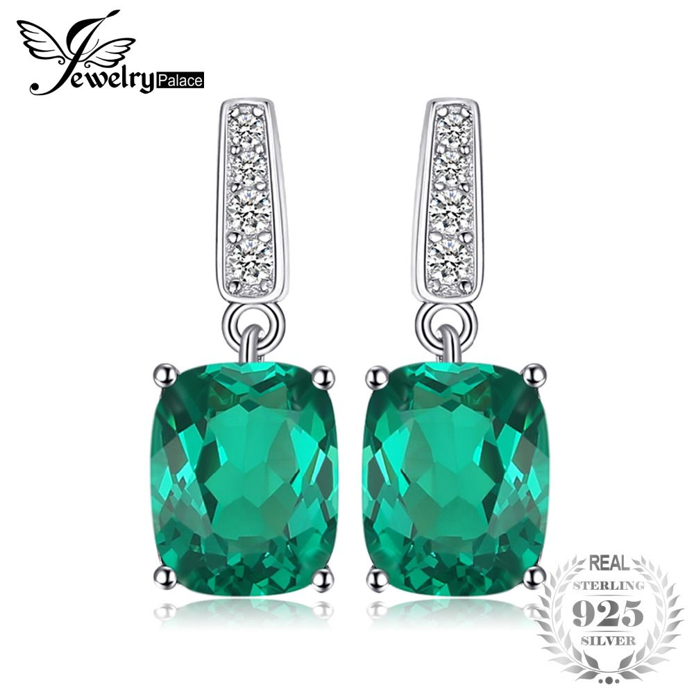 JewelryPalace Classic 5.4ct Created Gree Emerald Drop Earrings Solid 925 Sterling Silver Fine Jewelry For Women