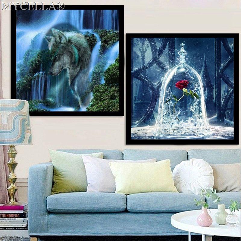 3D DIY алмаз живопись цветы рукоделие Алмаз Вышивка Роза Наклейки на стену волк Санта Клаус Домашний Декор Алмазная мозаика