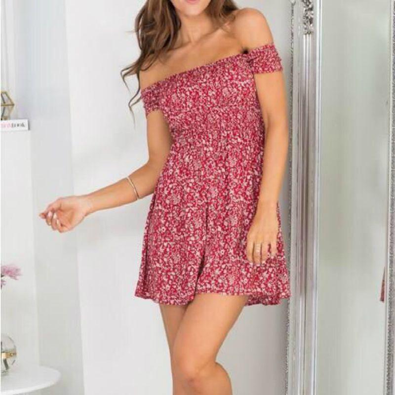 LOSSKY nouveau 2018 mode femmes robe à manches courtes robe florale Sexy hors épaule plage Mini robe décontracté casual robes de fête