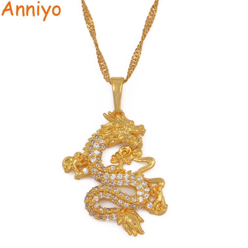 Anniyo CZ Dragon pendentif colliers pour femmes hommes couleur or bijoux cubique zircone mascotte ornements chanceux symbole cadeaux #064004