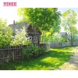 Украшение гостиной, картины по номерам на холсте, соломенный домик и зеленые деревья, картины на холсте для гостиной