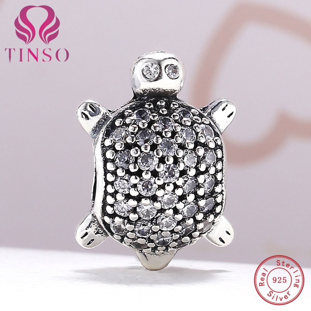 100% Аутентичные стерлингового серебра 925 черепаха очарование Бусины Fit Пандора браслет DIY оригинальный Серебряные ювелирные изделия делает