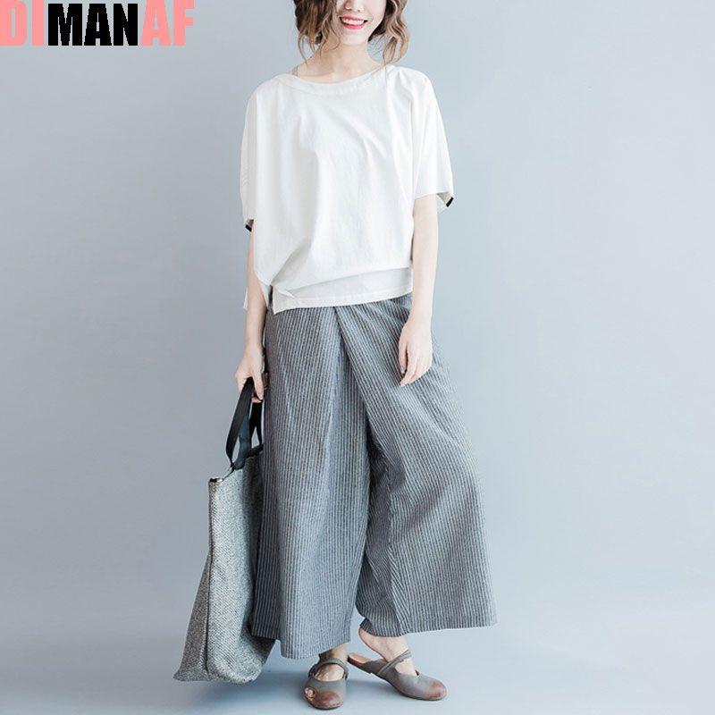 Plus la Taille Femmes Harem Pantalon Élastique Large Jambe Pantalon Rayé imprimer Vintage Lâche Flare Pantalon D'été Style Grande Taille Gris pantalon