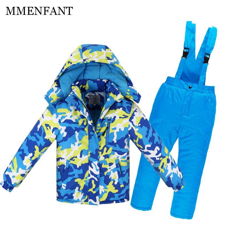3-14Y Hohe Qualität Kinder Skianzug Fleece Futter Winter skianzug Jungen Mädchen Wasserdicht winddicht jacke + pants Kinder Schnee anzüge