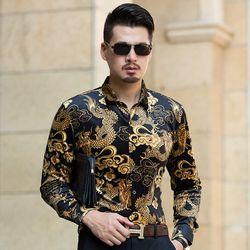 2017 Musim Gugur Beludru Emas Kemeja Mens Cina Naga Turndown Kerah Kemeja Pola Laki-laki Beludru Emas Gaun Lengan Panjang Fashion Kemeja