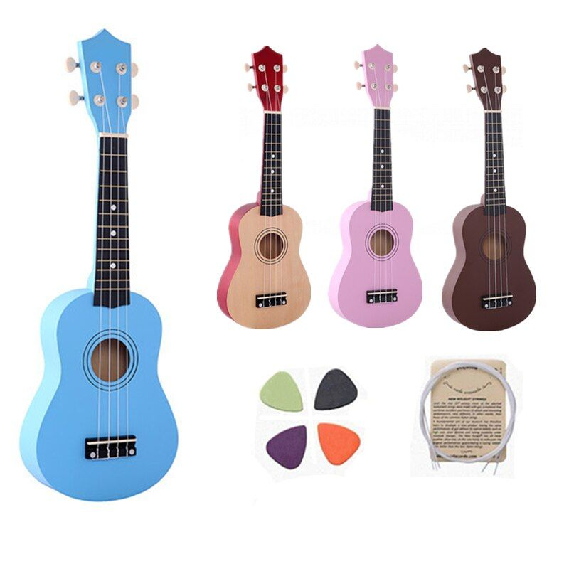 21 Inch IRIN four colour Ukulele Beginners Children Christmas Gifts Hawaii Four String Guitar + String + Pick