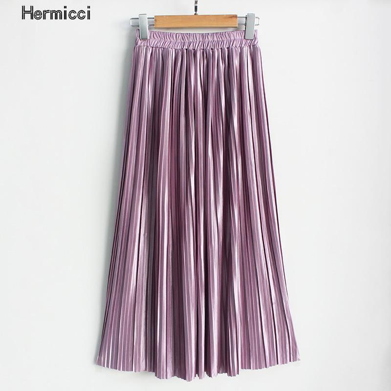 Hermicci 2018 Summer Pleated Ankle-length Maxi Skirt Long Vintage Women Metallic Skirt