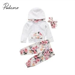 2017 Brand New Infant Toddler Newborn Baby Girls Floral Outfit Clothes Tracksuit Hooded Tops+Leggings Pants Headband 3Pcs Set