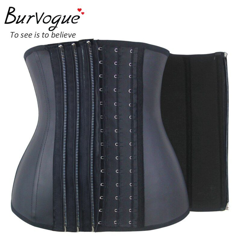 Burvogue11 Steel Bone Waist Corset Zipper&Buckle Latex Waist Trainer Women Firm Corsets Slimming Waist Control Corsets Underbust