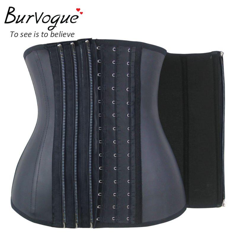 Burvogue11 Steel Bone Waist Corset Zipper&Buckle Latex Waist Trainer Women Firm Corsets Slimming Waist Control Corsets Underbust