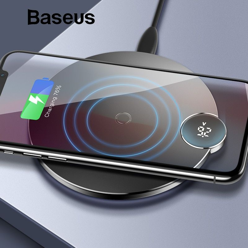 Baseus led affichage numérique Sans Fil chargeur pour iphone XS Max XR X 8 Qi chargeur sans fil pour Samsung Galaxy S8 S9 + Note 9 8