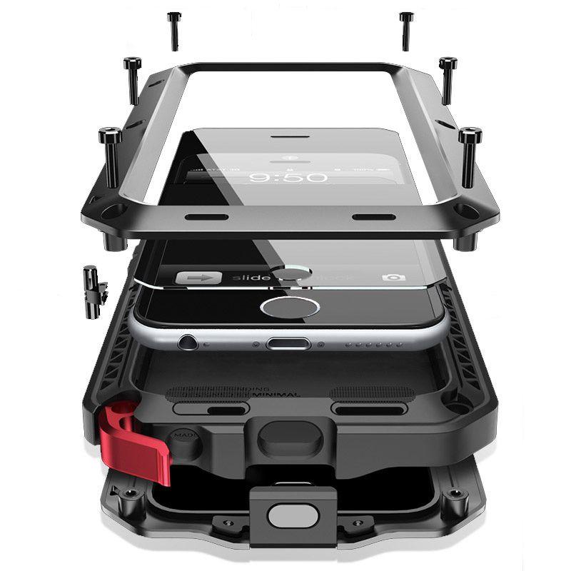 Armure doom de luxe empêche la poussière imperméable à l'eau antichoc en métal aluminium pour iphone 6 6 S 7 Plus X 8 8 plus 5 S SE XS XR MAX housse de protection