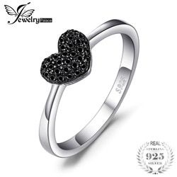 JewelryPalace Fashion Natural Black Spinel Love Heart Rings For Women 100% 925 Sterling Silver Wedding Gifts Fine Jewelry