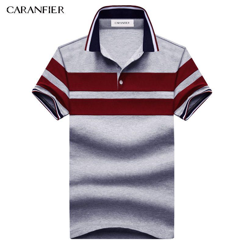 CARANFIER 2017 NEW Summer men Striped Polo Shirts 95% cotton Stripe Brand Clothing Man's Wear Short Sleeve Slim Clothes