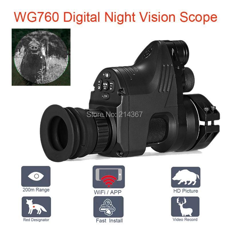 WG760 5W IR Infrared Digital Night Vision Telescope with Wifi APP 1080P HD NV Riflescope Night Vision Optics Sight Hot Sales