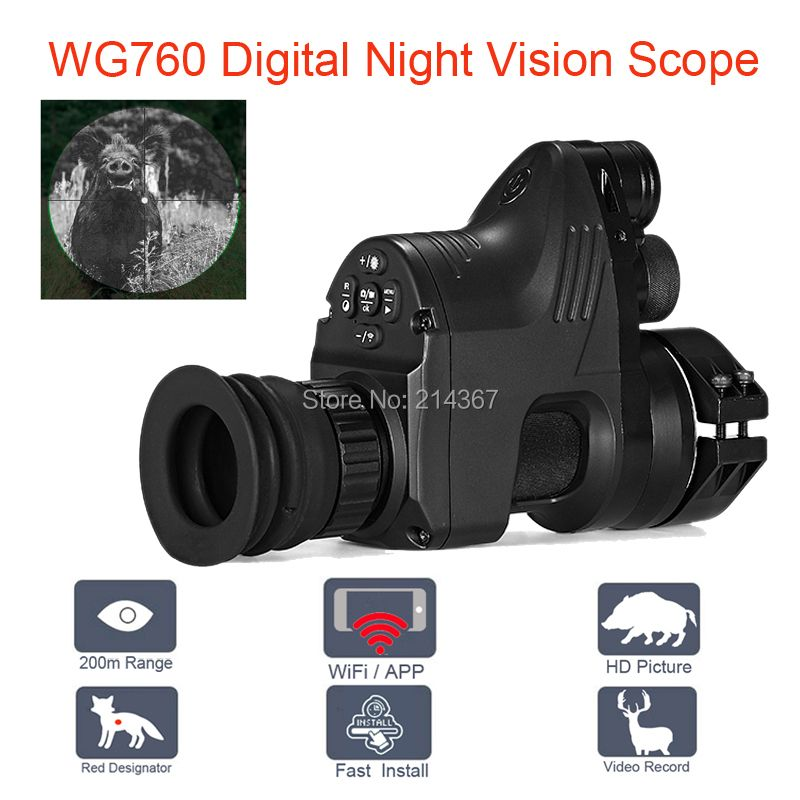 WG760 5W IR Infrared Digital Night Vision Telescope with Wifi APP 1080P HD NV Riflescope Night Vision Optics Sight Hot Sales