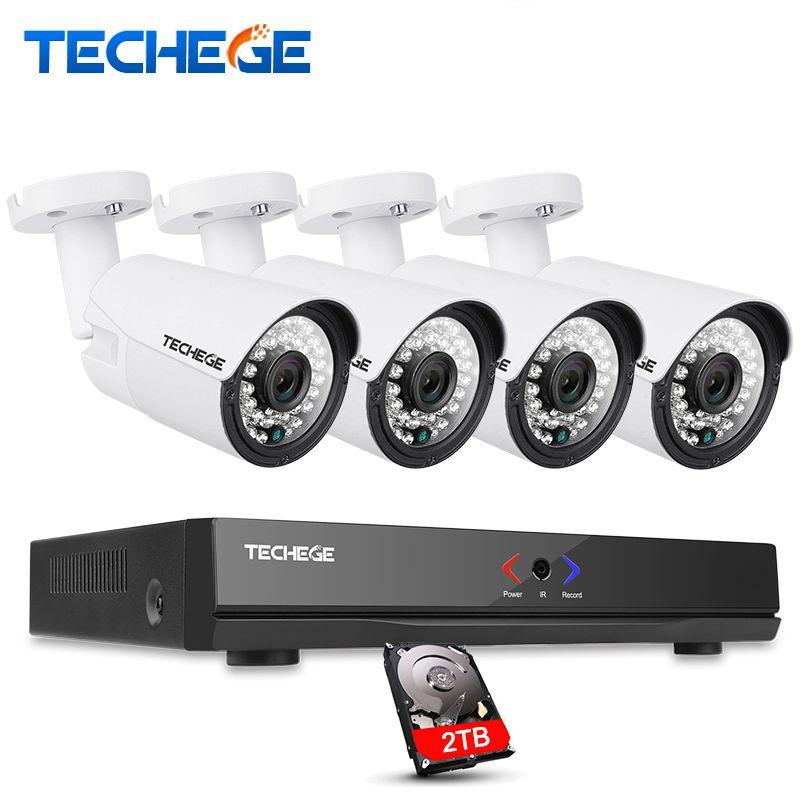 Techege 4CH CCTV System 1080P 48V 15V PoE NVR 2.0MP IP Camera POE System Cloud 1080 NVR KIT Motion Detect Night Vision