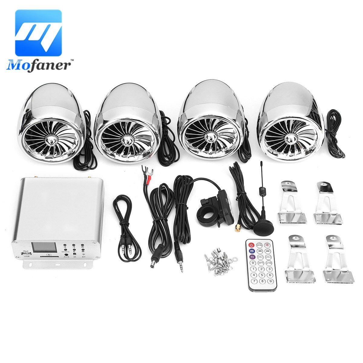 Mofaner 12V LCD Motorbike Audio Bluetooth 4 Speakers+Amplifier Handlebar System For Motorbike ATV 1000W