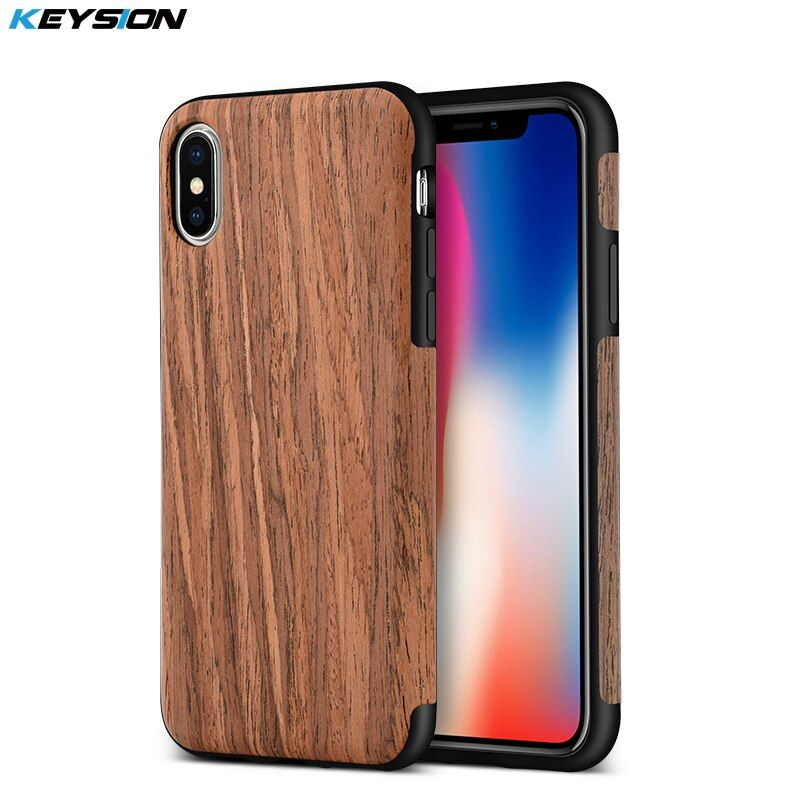 KEYSION Phone Case for iPhone X Luxury vintage wood grain and TPU Anti-knock Protection Black Cover for iPhoneX for iphone 10