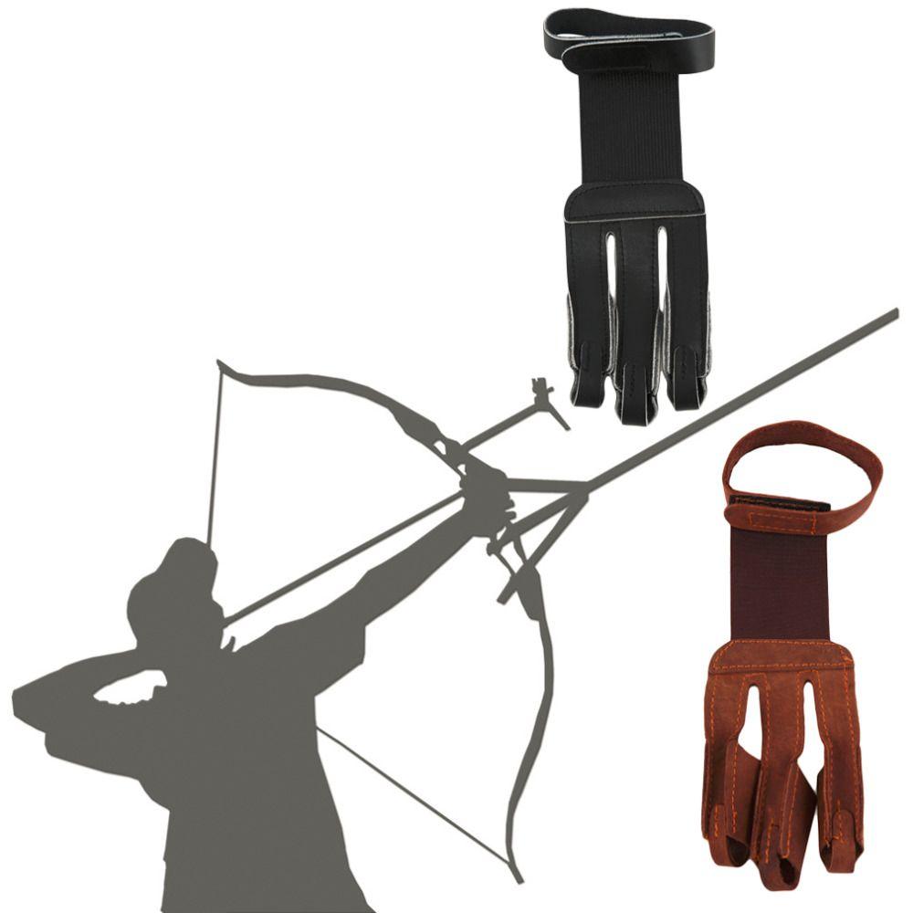 Стрельба из лука защитить перчатка 3 пальца тянуть стрелка кожа Стрельба Прихватки для мангала Перевозка груза падения