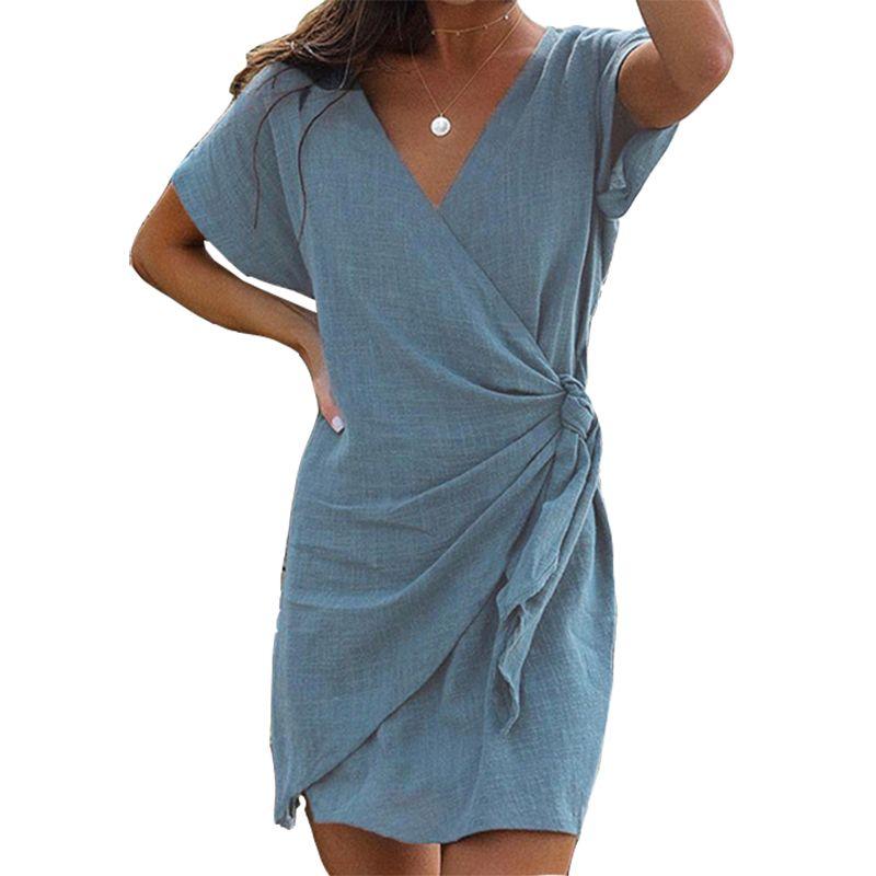 2019 Robe d'été femmes vêtements décontracté col en v irrégulière Sexy Bandage Robe Mini solide bureau vacances à manches courtes Robe GV328